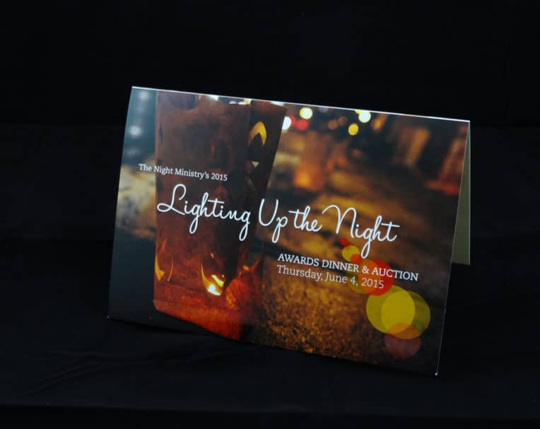 Night Ministry printed dinner invitation with spot UV Coating on dull cover.