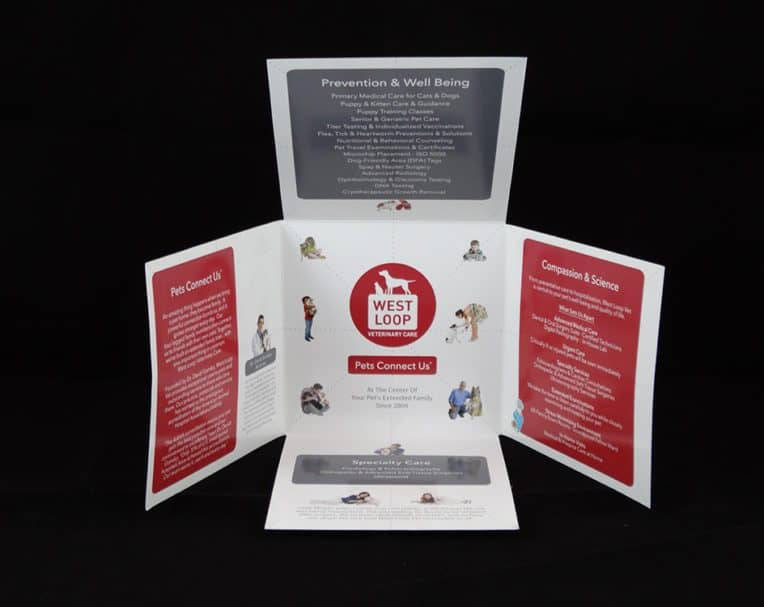 West Loop Veterinary Clinic custom printed diecut brochure on coated cover.